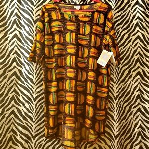 LuLaRoe XS cheeseburger hipster long tunic top